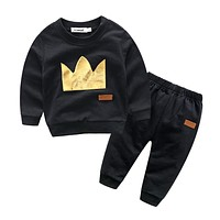 arrival baby boy clothing sets infant baby clothes boy sport suit set crown cotton sweatshirts+casual trousers