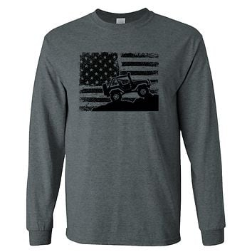 American US Flag 4X4 Off-Road on a Long Sleeve Dark Heather T Shirt