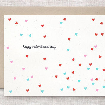 Recycled Valentine's Day Card - Petite Tiny Hearts, Red, Pink, Pastel Teal Green - Unique, Cute, Simple