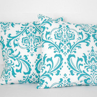 Blue Damask Pillow Covers 18 X 18 inches