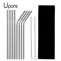 UPORS 4/8Pcs Reusable Drinking Straw High Quality 304 Stainless Steel Metal Straw with Cleaner Brush