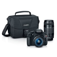 Canon EOS Rebel T5 Digital SLR Camera with Bag, 18-55mm Lens & 75-300mm Lens 9126B069 (Black)