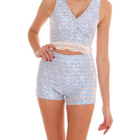Post Show Two Piece Shorts Set - Blue
