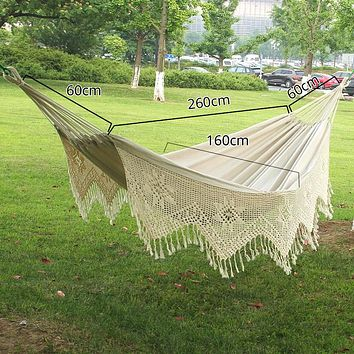 Cotton Hammock 2 Person Macrame Swing Bed Garden Outdoor Hanging Chair with Storage Bag