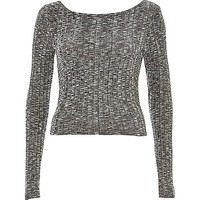 River Island Womens Grey chunky ribbed scoop neck top