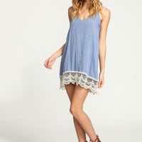 CHAMBRAY CROCHET TRIM SLIP DRESS