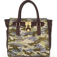 Military Camouflage Trendy Handbag w/ Lock Accent Camo Purse Blue