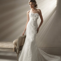 2012 Maggie Sottero Bridal - Ivory Lace & Organza Floral Mermaid Barcelona Wedding Gown - 0 - 28 - Unique Vintage - Cocktail, Evening & Pinup Dresses