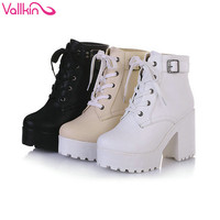 VALLKIN New Women Rain Boots Fashion Winter Snow Platform Women's Ankle Boots Motorcycle For Woman Wedding Size 34-43