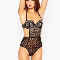 ASOS Petra Lace Cut Out With PU Trim Body