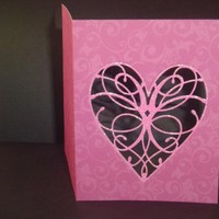 Pink Damask Mothers Day Window Card with Heart Cut Out on Handmade Artists' Shop