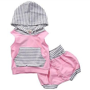 Newborn Baby Girls Boy Striped Sleeveless Tops Hooded Vest+Pants Shorts Pink Outfits Set Striped Clothes