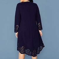Plus Size Burgundy Laser Cut Asymmetrical Hem Dress Women Spring Long Sleeve O-neck Solid A-line Elegant Short Dresses
