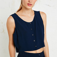 Cooperative Button-Through Top in Navy - Urban Outfitters