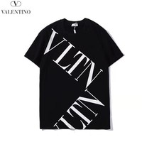 Valentino New fashion letter print couple top t-shirt Black