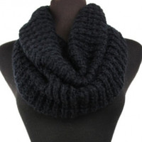 Soft Warm and Cozy Solid Black Crochet Infinity Scarf