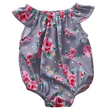 born Baby Girls Romper Butterfly Sleeves Jumpsuit Outfit Clothes