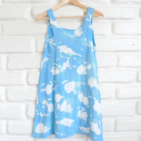 90s Grunge Cloud Sky Print Tank Mini Dress