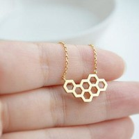 Honey Comb Hexagon Necklace