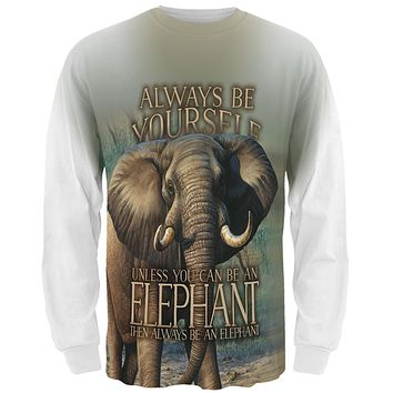 Always Be Yourself Unless Elephant All Over Mens Long Sleeve T Shirt