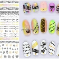 DS128 2017 New Water Transfer Nails Art Sticker English Letter Little Element Nail Wrap Sticker Tips Manicura nail foil transfer