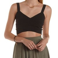 Black Crossover Wrap Crop Top by Charlotte Russe