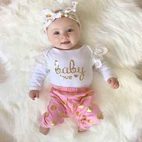 Fashion Infant Newborn Baby Girls Romper Jumpsuit Bodysuit Clothes Outfit Sets