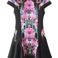 Black Floral Print Short Sleeve Pleated Dress