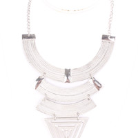 Silver Textured Cutout Designed Statement Necklace