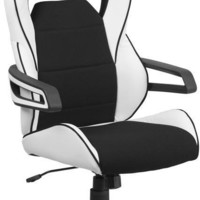 High Back White Vinyl Executive Swivel Office Chair with Black Fabric Inserts