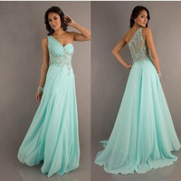 Mint Chiffon long evening dresses formal ball prom gown beading crystal = 4807064260