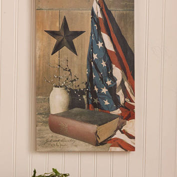 God & Country Themed Wall Canvas Print Americana Patriotic Rustic Home Decor