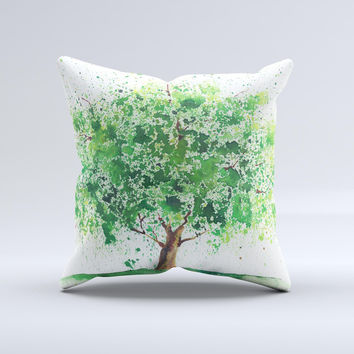 The Splattered Watercolor Tree of Life ink-Fuzed Decorative Throw Pillow
