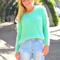Mint Fluffy Knit Sweater with Batwing Arms & Round Neck