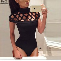 FANALA Women Bodysuit 2017 Summer Rompers Womens Jumpsuit Solid Hollow Out Short Sleeve Women Jumpsuit Sexy Combinasion Female