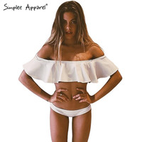 Simplee Apparel Sexy off shoulder ruffles brazilian bikini set Push up girls swimwear Women tops summer bathing suit tankini