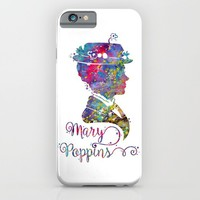 Mary Poppins Portrait Silhouette iPhone & iPod Case by Bitter Moon