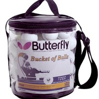 Butterfly Bucket of 3-Star 40mm Table Tennis Balls (72 Count)