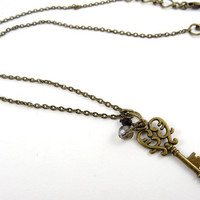 Small Antique Key Necklace Pendant - Vintage Bronze Skeleton Key - Jewelry for Her