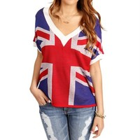 Red/Blue/Ivory British Flag Sweater