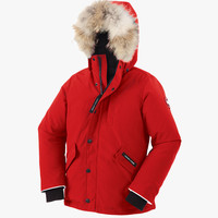 Canada Goose Kids' Youth Logan Parka with Fur Trim in Red - FINAL SALE