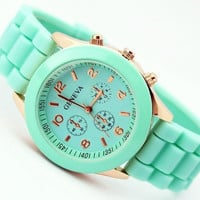 Women's Casual Geneva Watch Analog Wristwatches Sports Watches Rose Gold Silicone