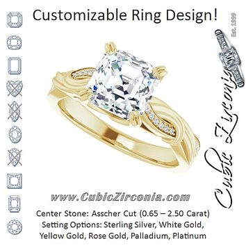 Cubic Zirconia Engagement Ring- The Fabiola (Customizable Cathedral-raised Asscher Cut Design featuring Rope-Braided Half-Pavé Band)