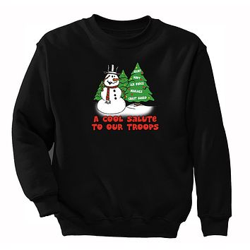 XtraFly Apparel Men's Snowman Salute Our Troops Army Navy Military Ugly Christmas Pullover Crewneck-Sweatshirt