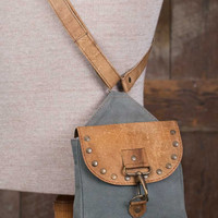 Leather & Canvas Crossbody City Bag with Rivets