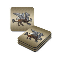 Mosaic Griffin Coasters Set in brown and gold, set of four coasters with cork back