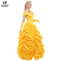 ROLECOS 2016 Fantasia Women Halloween Cosplay Southern Beauty And The Beast Adult Princess Belle Costume CC167A