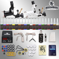 Beginner tattoo kit 2 machines 20 ink sets power supply needles D175GD-6