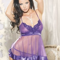 Purple Sheer Babydoll with Beaded Crochet and Thong