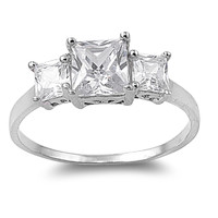 925 Sterling Silver CZ Three Stones Princess Cut Ring 12MM